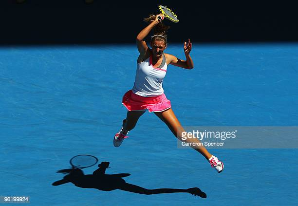 Victoria Azarenka of Belarus plays a forehand in her quarterfinal match against Serena Williams of the United States of America during day ten of the...