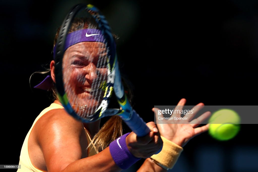 Victoria Azarenka of Belarus plays a forehand in her Semifinal match against Sloane Stephens of the United States during day eleven of the 2013 Australian Open at Melbourne Park on January 24, 2013 in Melbourne, Australia.