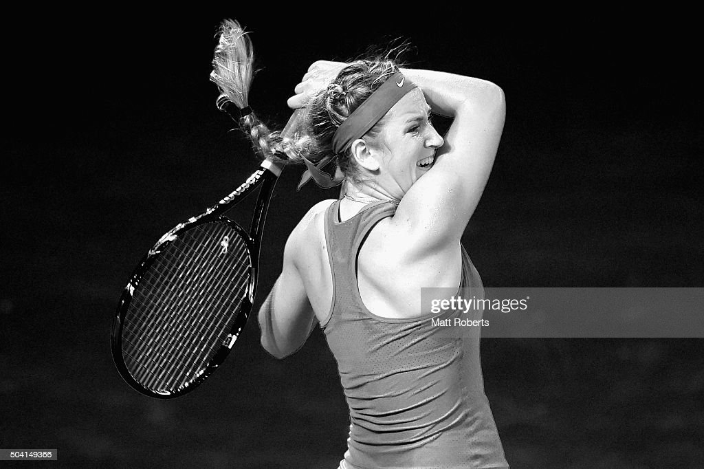 Victoria Azarenka of Belarus plays a forehand in the Women's Final against Angelique Kerber of Germany during day seven of the 2016 Brisbane International at Pat Rafter Arena on January 9, 2016 in Brisbane, Australia.
