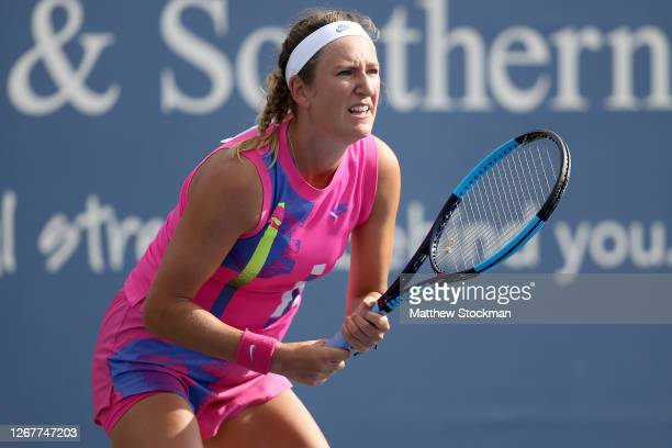 Victoria Azarenka of Belarus plays Donna Vekic of Croatia during the Western Southern Open at the USTA Billie Jean King National Tennis Center on...