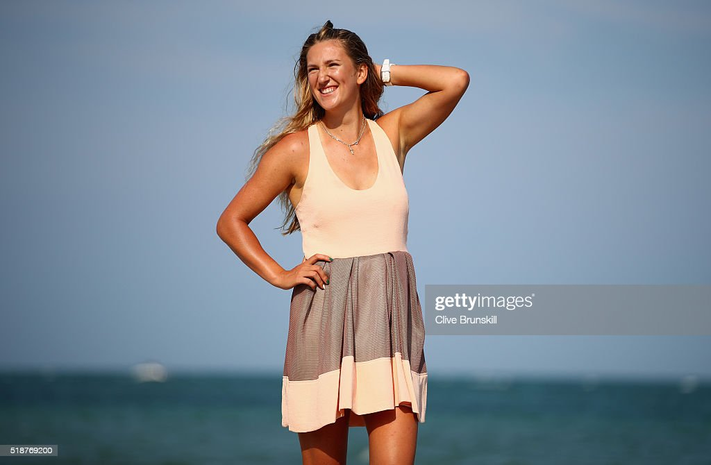 Victoria Azarenka of Belarus poses for a photograph on Crandon Park beach after her straight sets victory against Svetlana Kuznetsova of Russia in the womens final during the Miami Open Presented by Itau at Crandon Park Tennis Center on April 2, 2016 in Key Biscayne, Florida.