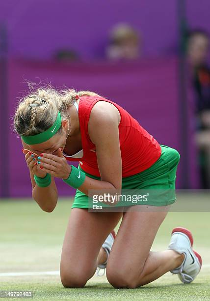 Victoria Azarenka of Belarus reacts after defeating Maria Kirilenko of Russia to win the bronze medal in the Women's Singles Tennis on Day 8 of the...