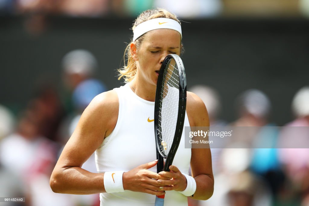 Victoria Azarenka of Belarus reacts during her Ladies' Singles second round match against Karolina Pliskova of Czech Republic during their Ladies' Singles second round match on day three of the Wimbledon Lawn Tennis Championships at All England Lawn Tennis and Croquet Club on July 4, 2018 in London, England.
