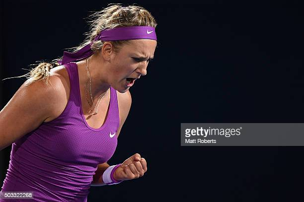 Victoria Azarenka of Belarus reacts during her match against Elena Vesnina of Russia on day two of the 2016 Brisbane International at Pat Rafter...
