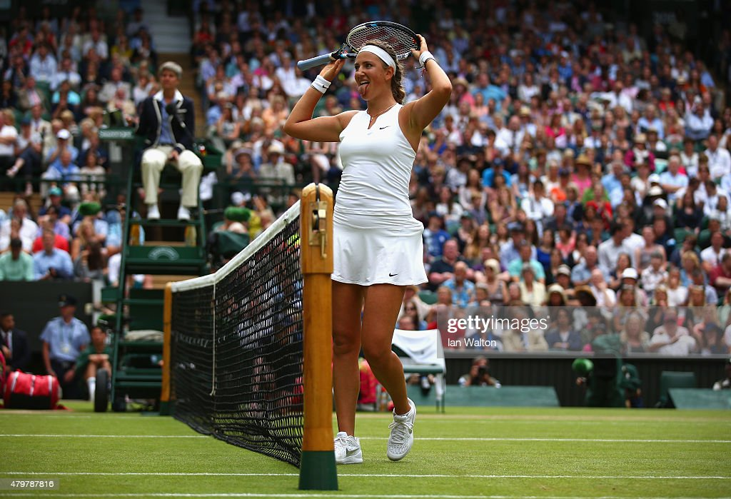 Victoria Azarenka of Belarus reacts in her Ladies Singles Quarter Final match against Serena Williams of the United States during day eight of the Wimbledon Lawn Tennis Championships at the All England Lawn Tennis and Croquet Club on July 7, 2015 in London, England.