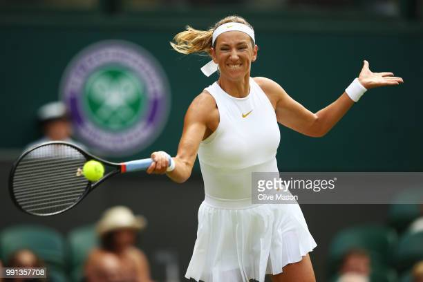 Victoria Azarenka of Belarus returns against Karolina Pliskova of Czech Republic during their Ladies' Singles second round match on day three of the...