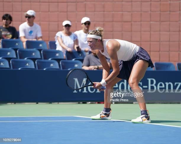 Victoria Azarenka of Belarus returns ball during US Open 2018 2nd round match against Daria Gavrilova of Australia at USTA Billie Jean King National...