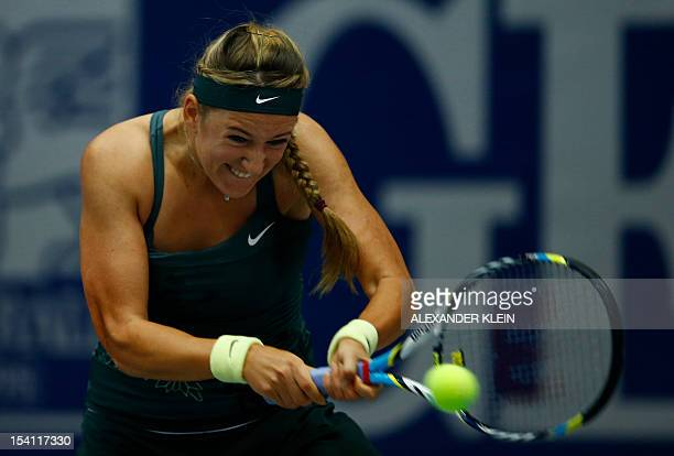 Victoria Azarenka of Belarus returns the ball to Julia Goerges of Germany during their final match as part of the Linz WTA tennis tournament held in...