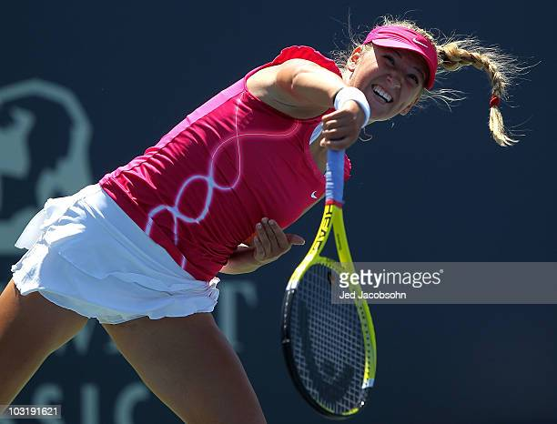 Victoria Azarenka of Belarus serves against Maria Sharapova of Russia during the finals of the Bank of the West Classic at Stanford University on...