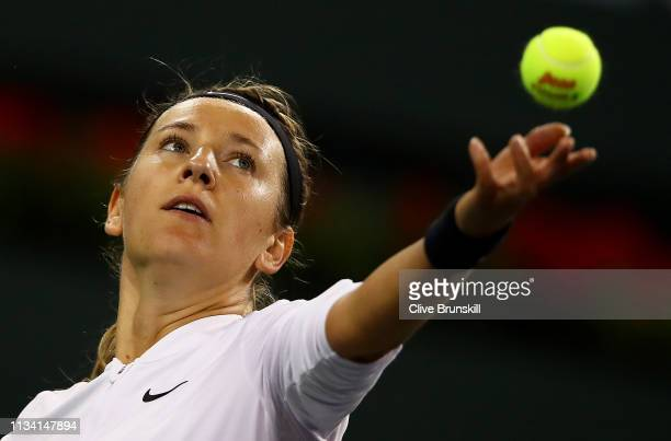 Victoria Azarenka of Belarus serves against Vera Lapko of Belarus during their womens singles first round match on day three of the BNP Paribas Open...