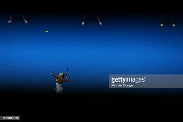 Victoria Azarenka of Belarus serves in her quarter final match against Angelique Kerber of Germany during day 10 of the 2016 Australian Open at...