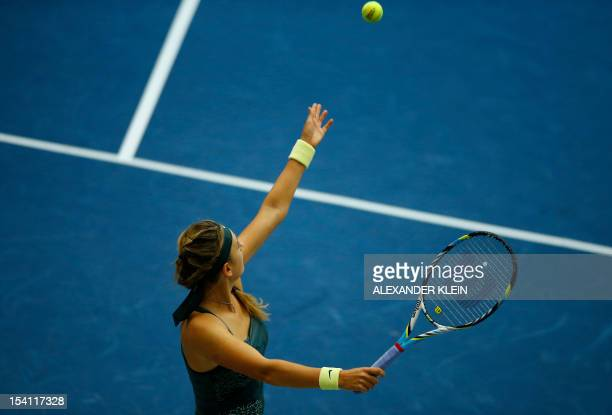 Victoria Azarenka of Belarus serves to Julia Goerges of Germany during their final match as part of the Linz WTA tennis tournament held in Linz on...