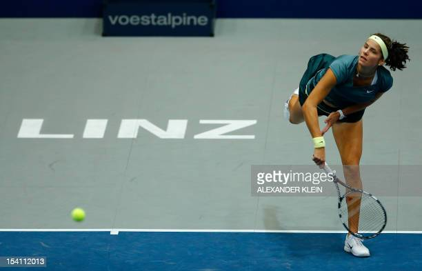 Victoria Azarenka of Belarus serves to Julia Goerges of Germany during the final of the Linz WTA tennis tournament held in Linz on October 14 2012...