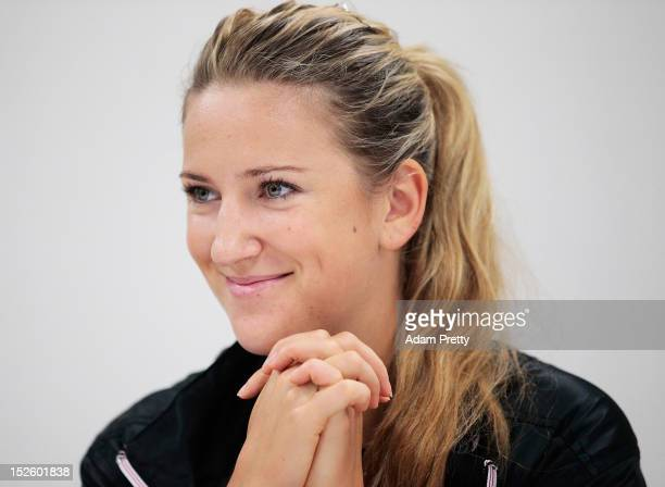 Victoria Azarenka of Belarus talks to the media during 'all access hour' during day one of the Toray Pan Pacific Open at Ariake Colosseum on...