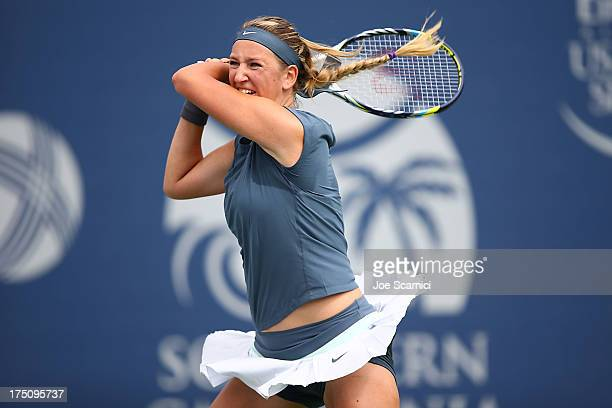 Victoria Azarenka of Bulgaria plays a backhand during her second round match against Francesca Schiavone of Italy at the Southern California Open Day...