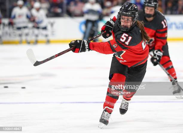 Victoria Bach of the Canadian Women's National Team warms up ahead of the game against the U.S. Women's Hockey Team at Honda Center on February 08,...