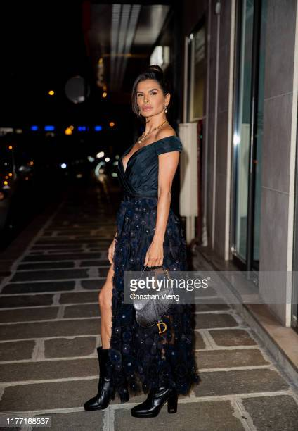 Victoria Barbara seen on her way to the Dior dinner wearing Dior dress and bag during Paris Fashion Week Womenswear Spring Summer 2020 on September...