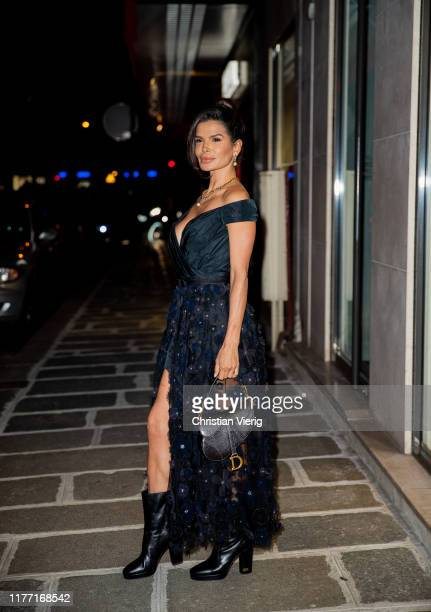 Victoria Barbara seen on her way to the Dior dinner wearing Dior dress and during Paris Fashion Week Womenswear Spring Summer 2020 on September 25...