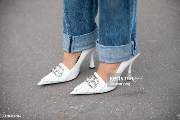 Victoria Barbara seen wearing Balenciaga white heels during Paris Fashion Week Womenswear Spring Summer 2020 on September 29 2019 in Paris France