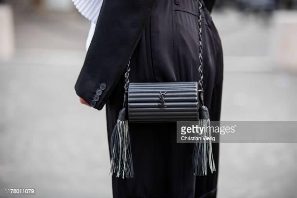 Victoria Barbara seen wearing Givenchy two tone black white blazer black pants bag during Paris Fashion Week Womenswear Spring Summer 2020 on...