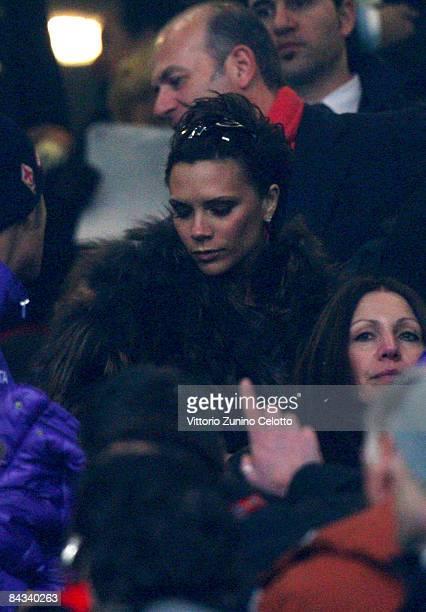 Victoria Beckham Adams wife of Midfielder David Beckham of AC Milan sights during the Serie A match between AC Milan v ACF Fiorentina held at Stadio...