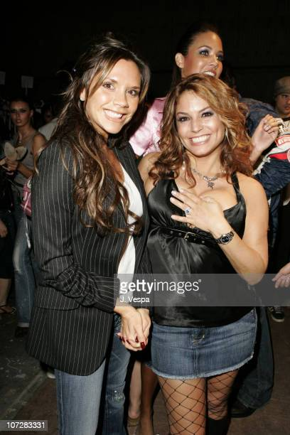 Victoria Beckham and Andrea Bernholtz during Cadillac Presents Rock and Republic Spring 2005 Collection - Front Row and Backstage at Culver Studios...
