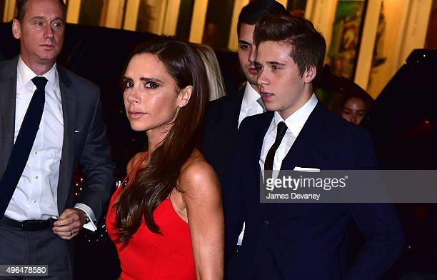 Victoria Beckham and Brooklyn Beckham arrive to the 2015 Glamour Women of The Year Awards dinner at The Rainbow Room on November 9 2015 in New York...