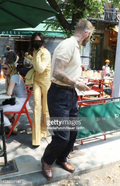 Victoria Beckham and David Beckham are seen on May 26, 2021 in New York City.