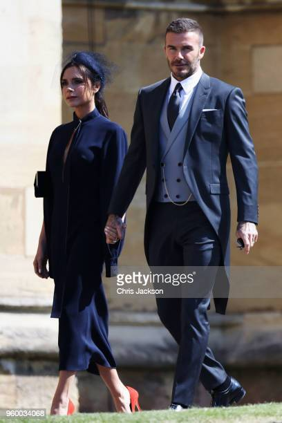 Victoria Beckham and David Beckham arrive at the wedding of Prince Harry to Ms Meghan Markle at St George's Chapel Windsor Castle on May 19 2018 in...