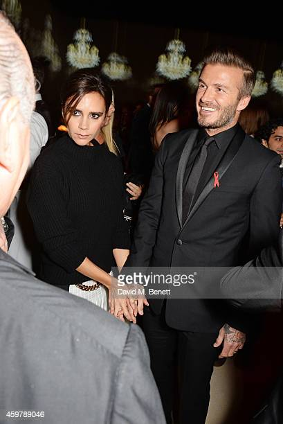 Victoria Beckham and David Beckham attend a drinks reception at the British Fashion Awards at the London Coliseum on December 1 2014 in London England