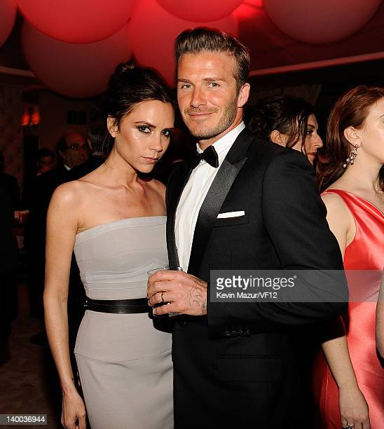 Victoria Beckham and David Beckham attend the 2012 Vanity Fair Oscar Party Hosted By Graydon Carter at Sunset Tower on February 26 2012 in West...