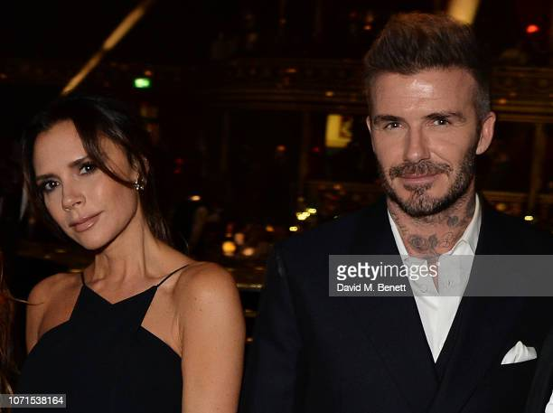 Victoria Beckham and David Beckham attend The Fashion Awards 2018 in partnership with Swarovski at the Royal Albert Hall on December 10 2018 in...