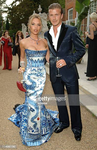 Victoria Beckham and David Beckham during The 7th Annual White Tie and Tiara Ball to Benefit the Elton John Aids Foundation in Association with...