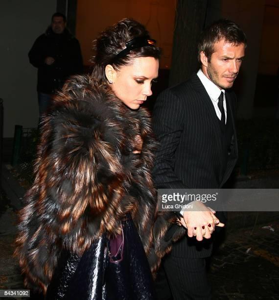 Victoria Beckham and David Beckham leaving 'Nobu Armani' Restaurant on January 17 2009 in Milan Italy