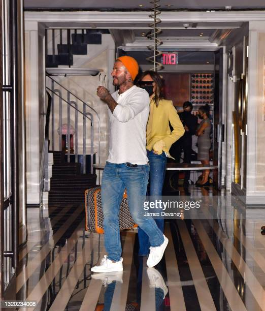 Victoria Beckham and David Beckham seen on the streets of Manhattan on May 26, 2021 in New York City.