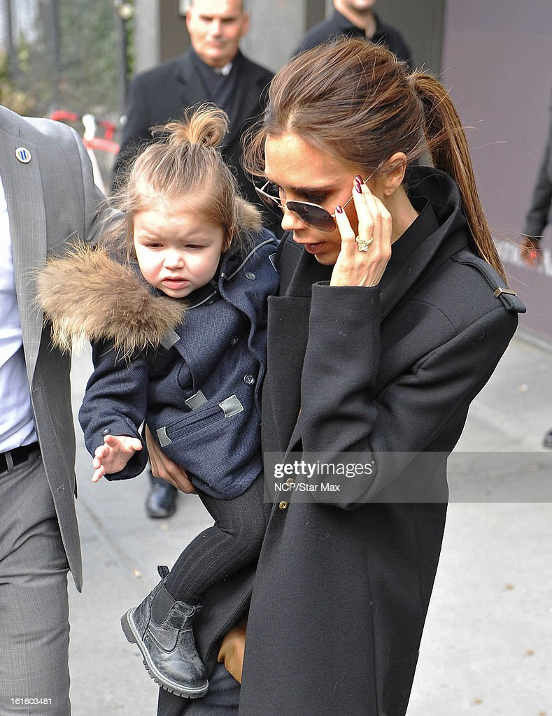 Victoria Beckham and Harper Beckham as seen on February 12, 2013 in New York City.