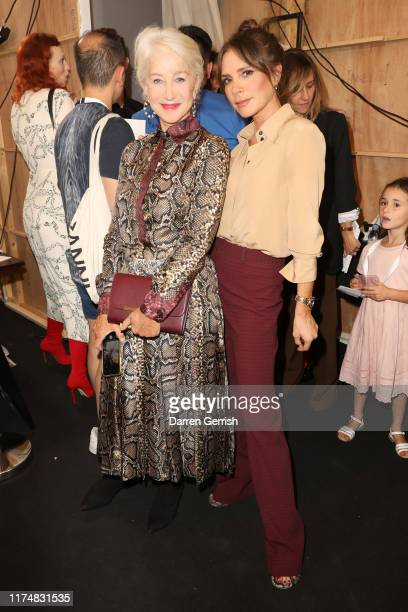 Victoria Beckham and Helen Mirren backstage after the Victoria Beckham show during London Fashion Week September 2019 at the British Foreign and...