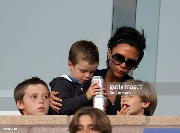 Victoria Beckham and her children at the Los Angeles Galaxy vs Chivas USA MLS match at The Home Depot Center on July 11 2009 in Carson California
