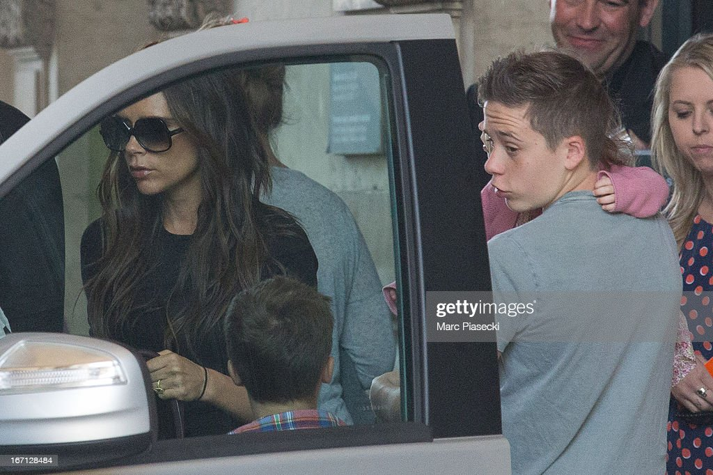 Victoria Beckham and her children Cruz, Harper Seven and Brooklyn Joseph Beckham are seen leaving the Louvre museum on April 21, 2013 in Paris, France.