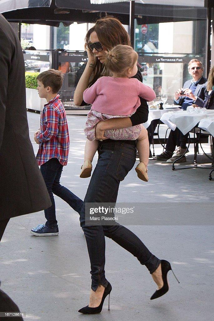 Victoria Beckham and her daughter Harper Seven Beckham are seen leaving the 'Matignon' restaurant on April 21, 2013 in Paris, France.