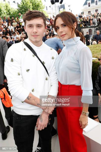 Victoria Beckham and her son Brooklyn Beckham attend the Dior Homme Menswear Spring/Summer 2019 show as part of Paris Fashion Week on June 23 2018 in...