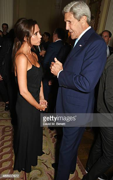 Victoria Beckham and John Kerry United States Secretary of State attend the London Fashion Week party hosted by Ambassador Matthew Barzun and Mrs...