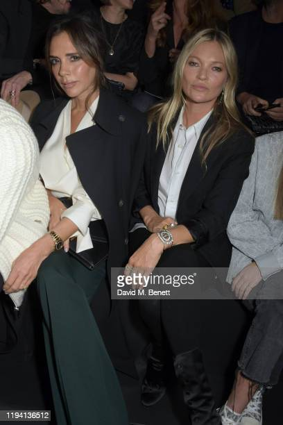 Victoria Beckham and Kate Moss attend the Dior Homme Menswear Fall/Winter 2020-2021 show as part of Paris Fashion Week on January 17, 2020 in Paris,...