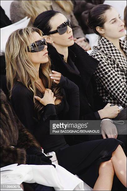 Victoria Beckham and L'Wren Scott at Chanel spring-summer 2006 Haute Couture show in Paris, France On January 24, 2006-Victoria Beckham, L'Wren...