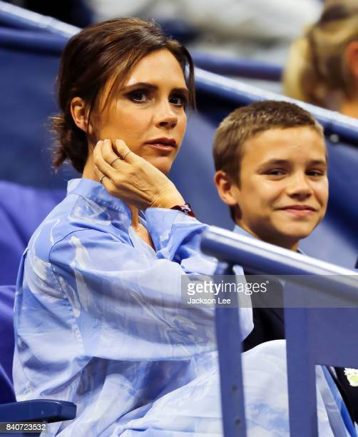 Victoria Beckham and Romeo Beckham attend the 2017 US Open Tennis Championships at Arthur Ashe Stadium on August 29 2017 in New York City