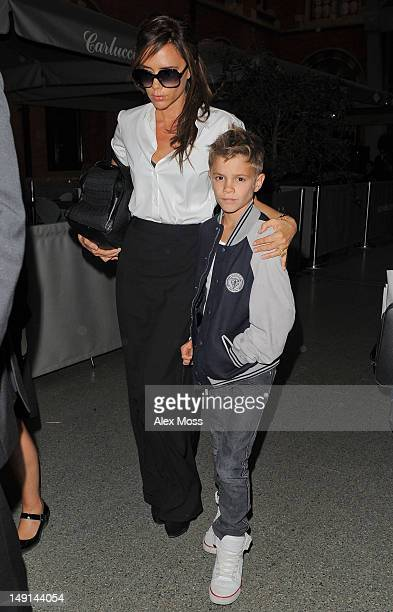 Victoria Beckham and Romeo Beckham sighting on July 23, 2012 in London, England.