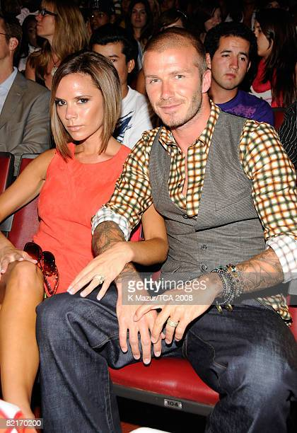 LOS ANGELES CA AUGUST 03 Victoria Beckham and Soccer player David Beckham during the 2008 Teen Choice Awards at Gibson Amphitheater on August 3 2008...