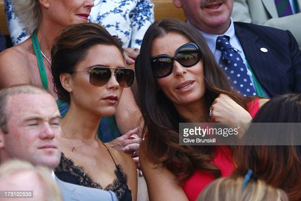 Victoria Beckham and Tana Ramsay attend the Gentlemen's Singles Final match between Andy Murray of Great Britain and Novak Djokovic of Serbia on day...