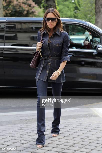 Victoria Beckham arrives at her hotel on June 22 2018 in Paris France