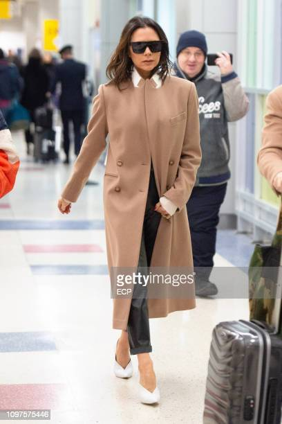 Victoria Beckham arrives at JFK airport on January 21 2019 in New York City